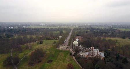 bird eye : Birds eye view of Greenwich Observatory 4K video