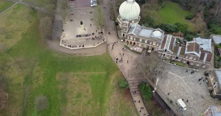 greenwich : Panoramic aerial view of Greenwich observatory 4K footage