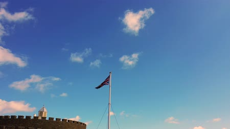 Union Jack above Deal castle, Deal, Kent, UK Wideo