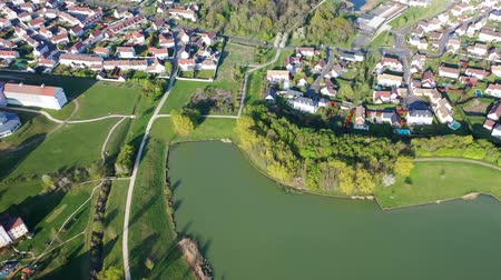 Panoramic aerial view of Lake Magny-le-Hongre
