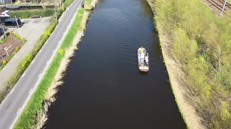 Aerial view of a boat in the canal, Holland Wideo
