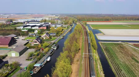 Aerial view of a fast train, Holland