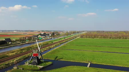 Aerial view of traditional Dutch windmill, Netherlands, Holland Wideo