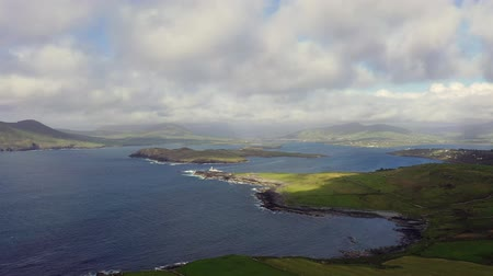 resmedilmeye değer : Beautiful aerial view of Valentia Island. Locations worth visiting on the Wild Atlantic Way. Scenic Irish countyside on sunny summer day, County Kerry, Ireland. Stok Video
