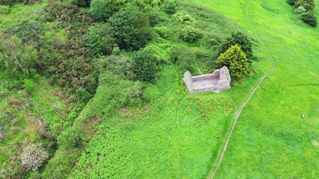 desolado : Aerial view of Raheen-a-Cluig medieval church in Bray, County Wicklow, Ireland