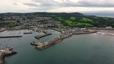 docked : Aerial view of Howth Harbour and village, Ireland