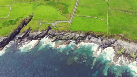 resmedilmeye değer : Beautiful aerial view of Valentia Island. Locations worth visiting on the Wild Atlantic Way. Scenic Irish countyside on a dull spring day, County Kerry, Ireland.