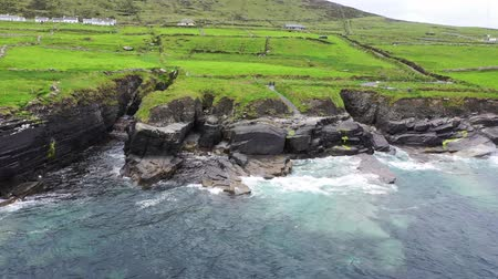 kerry : Beautiful aerial view of Valentia Island. Scenic Irish countyside on a dull spring day, County Kerry, Ireland.