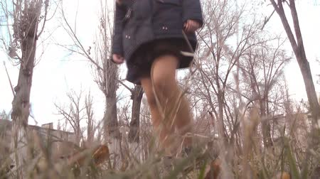 difficults : the grass, legs of girls walking in the autumn grass Stock Footage