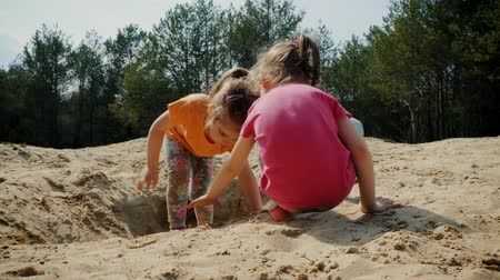 areias : Two lovely girls play on the sand in the woods in the summer Vídeos
