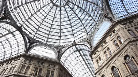 glass building : Umberto I gallery in the city of Naples, italy Stock Footage