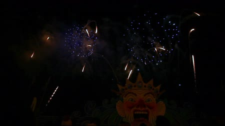 Viareggio, Italy - March 03, 2013: 140th edition of the Carnival of Viareggio. Show of fireworks and music at the end of event.