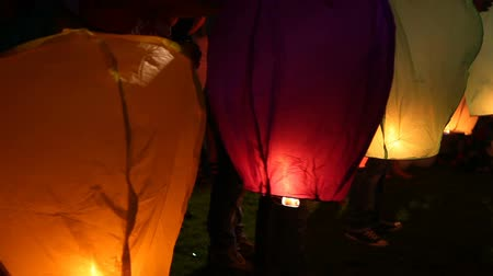 Asian floating lanterns into the night sky