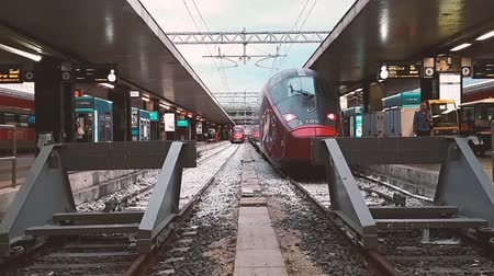 Rome, Italy - July 15, 2018: High-speed trains in Rome station. Frecciarossa and Italo are capable of reaching speeds of over 300 kilometers per hour.
