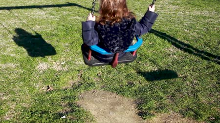 percepção : Toddler girl plays on the swing. Science concept, example of shadow, energy, inertia and gravity. Stock Footage