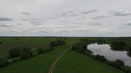View of green fields from a height, Russia Wideo