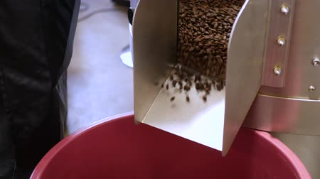 Roasted coffee beans pouring from roaster machine Стоковые видеозаписи