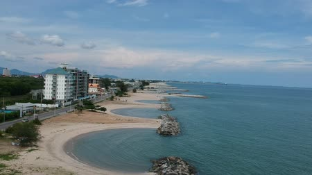 imagens : Aerial view of stone braking wave in Rayong province Thailand Stock Footage