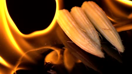 piknik : Slow motion of fire burning baby corn Wideo