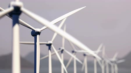Wind turbines looping seamless spinning, Energy concept.