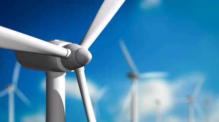 sustainable resources : Wind turbines looping seamless spinning, Energy concept.