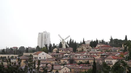 picturesque quarters : Panorama of West Jerusalem  Yemin Moshe neighborhood , Israel.