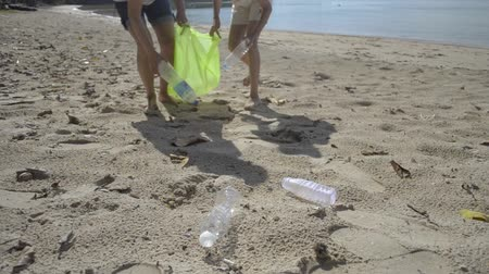 coletando : Mom and her daughter collecting garbage on the sandy beach into green plastic bag, Plastic bottles are collected on the beach, Volunteers cleaning the beach, Environmental awareness concept.