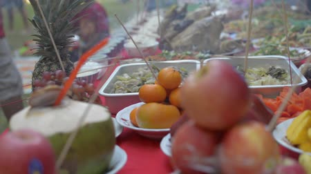заслуга : Prepared foods and fruits for paying respect to ancestor spirits during chinese new year. Стоковые видеозаписи