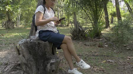Asian woman with backpack sitting under the tree and using mobile phone in public park. Stock Footage