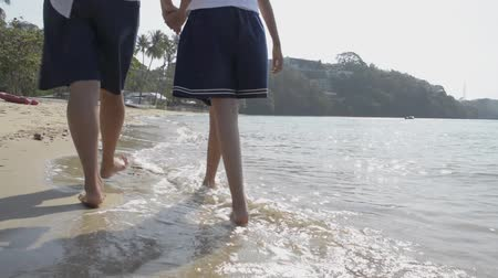 připevnění : View from rear side of mother and her daughter walking and holding hand in hand together on the beach during summer in phuket.
