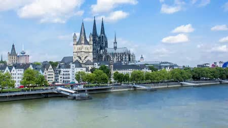 kolínská voda : hyperlapse crossing a bridge towards world heritage site cologne cathedral
