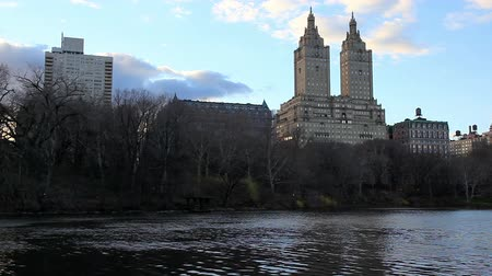 batı : View of Central Park West from Central Park, New York City Stok Video