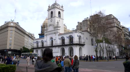 bölüm : Long shot of the side of colonial Historic council building in May square, bicentennial independence day celebrations, Buenos Aires, Argentina, July 2016
