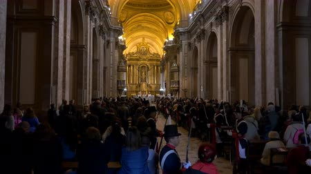Long shot of Independence day celebrations Bicentennial mass, singing choir Cathedral in Buenos Aires, Argentina, July 2016 Wideo
