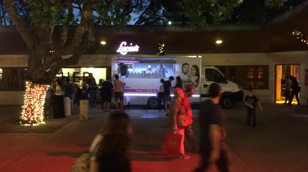 Wide shot of Ice cream truck food on Christmas market at night, Buenos Aires, December 2017 Wideo