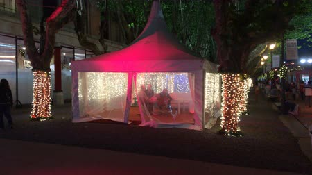 Full shot of Buenos Aires Christmas Market lounge tent Wideo