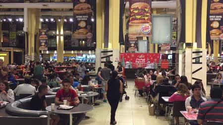 Wide shot of Christmas eve food court on Abasto Buenos Aires mall, Argentina Wideo
