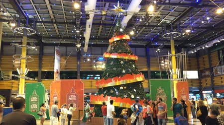 Wide shot of Christmas tree on Abasto Buenos Aires mall, Argentina