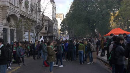Full shot of the Street meeting point for Pro Abortion Schools, June 18th 2018, Buenos Aires, Argentina Wideo