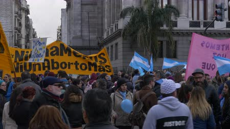 Full shot of the Street meeting point for Against Abortion activists, June 18th 2018, Buenos Aires, Argentina