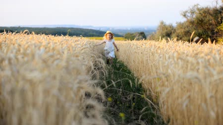 happy running girl on a wheat field in the sunlight
