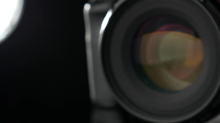 slider shot : Camera lens aperture working. Close-up. Slider shot. 50fps. Stock Footage