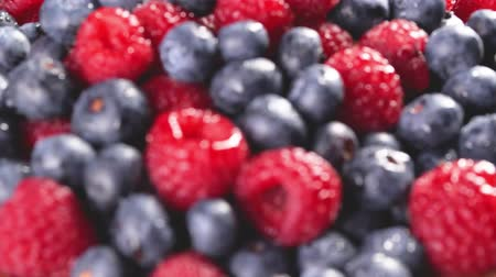 picked : Heap of fresh blueberries and raspberries. Follow focus. Closeup macro shot. Fresh berry series. 4k.