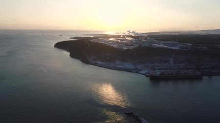 tatar : Vanino of the Khabarovsk Krai . the port of Vanino . filmed from above by drone Wideo