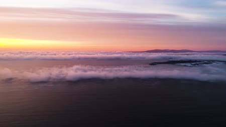 motivasyonel : sunrise on the sea, shot from a drone height, cloud water, fog