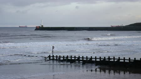 groyne : Strong waves at  the North Sea Beach, Aberdeen, Scotland