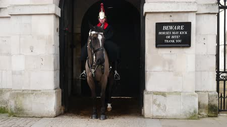 охранять : LONDON, UNITED KINGDOM  25 JANUARY 2016: A mounted trooper of the Household Cavalry on duty at Horse Guards. The soldiers charged with guarding the official royal residences in the UK.