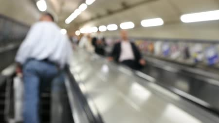 mind the gap : Blur - People commuting via  tube underground train in London on May 21, 2016. London Underground carried over 1 billion passengers per year.