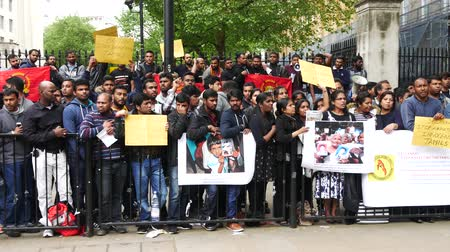 peaceful : LONDON, UNITED KINGDOM – 22 MAY 2016: Hundreds of Sri Lankan People attended the peaceful protest in London in order to raise awareness of human right in Sri Lanka