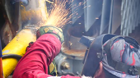 oxyacetylene : Welder welding handrails to fix damage